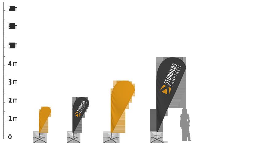Beachflagga Haj, storlekar
